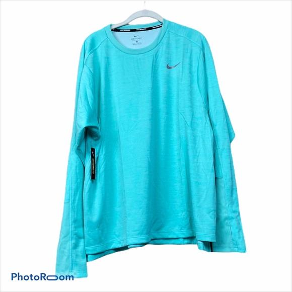 Nike dri fit teal long sleeve running top plus